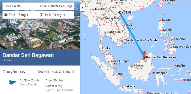 Bản đồ đường bay từ Hà Nội đi Bandar Seri Begawan