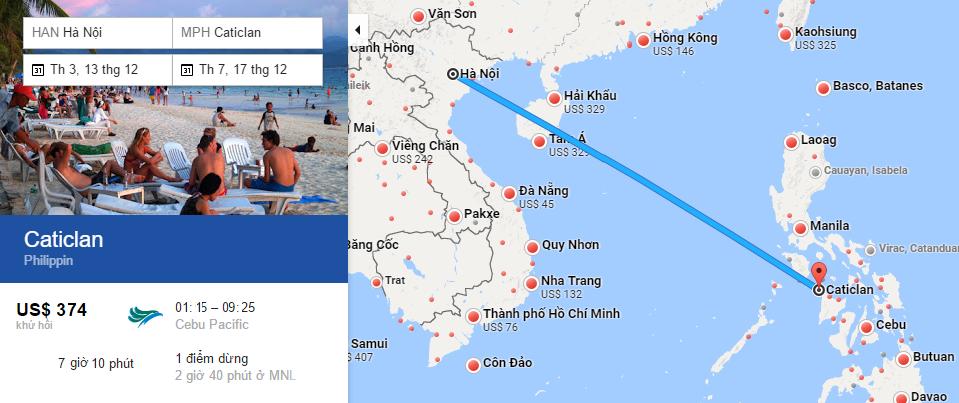 Bản đồ đường bay từ Hà Nội đi Boracay Bản đồ đường bay từ Hà Nội đi Boracay