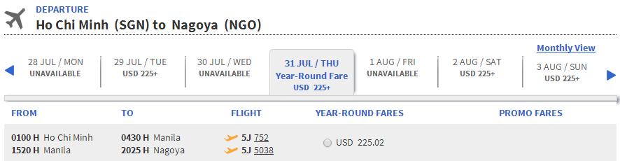 Vé máy bay đi Nagoya bao nhiêu tiền?