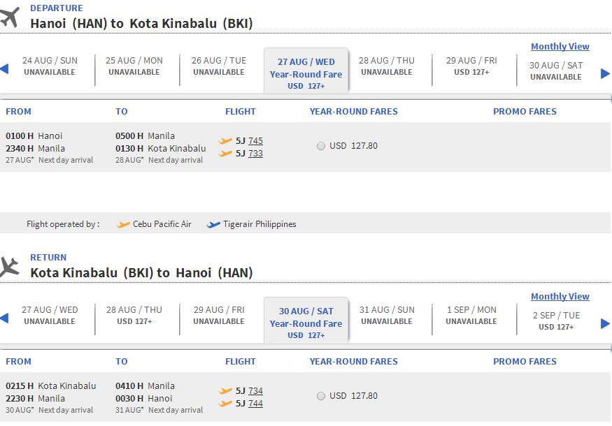 Vé máy bay Hà Nội đi Kota Kinabalu