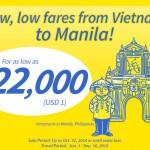 Siêu khuyến mại Việt Nam đi Manila chỉ 1 USD