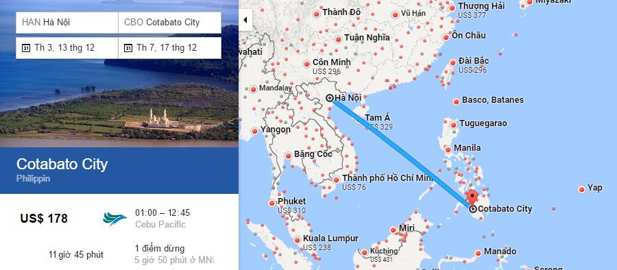 Bản đồ đường bay từ Hà Nội đi Cotabato