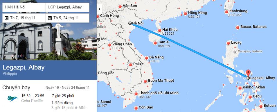 Khám phá bản đồ đường bay từ Hà Nội đi Legazpi