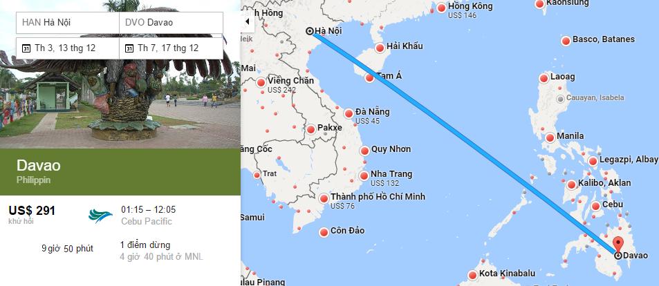 Bản đồ đường bay từ Hà Nội đi Davao