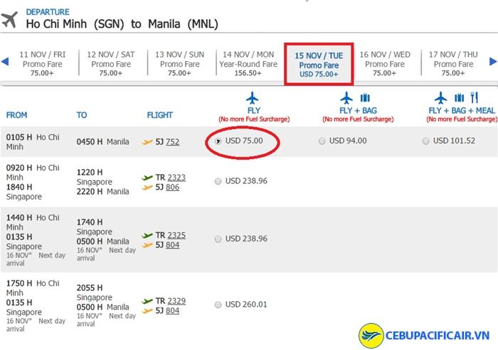 Bảng giá vé KM tham khảo chặng HCM - Manila