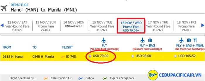 Bảng giá vé KM tham khảo chặng HN - Manila