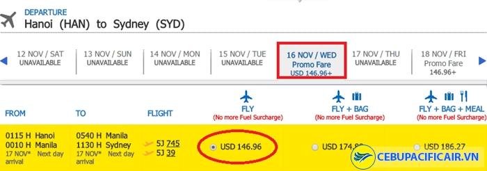 Bảng giá KM chặng Hà Nội đi Sydney
