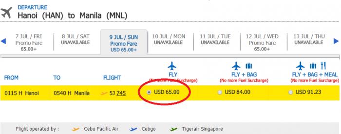 Giá KM tham khảo chặng HN - Manila