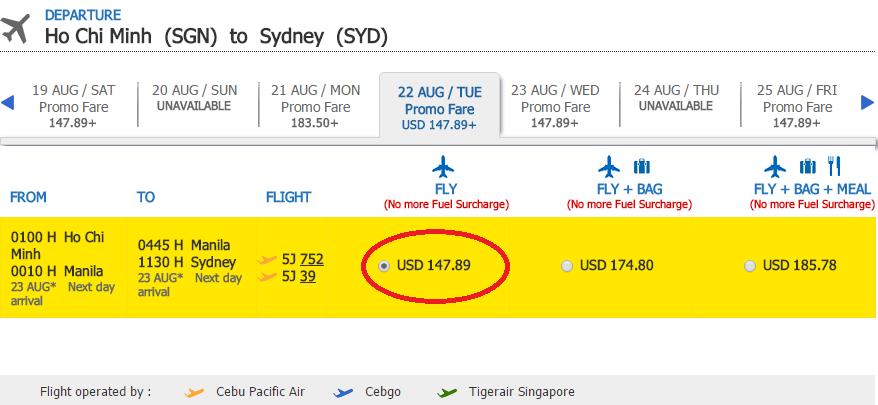 Giá vé KM chặng HCM - Sydney