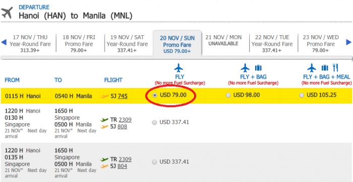 Giá vé tham khảo chặng HN - Manila