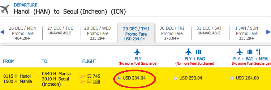 Giá vé tham khảo chặng HN - Seoul