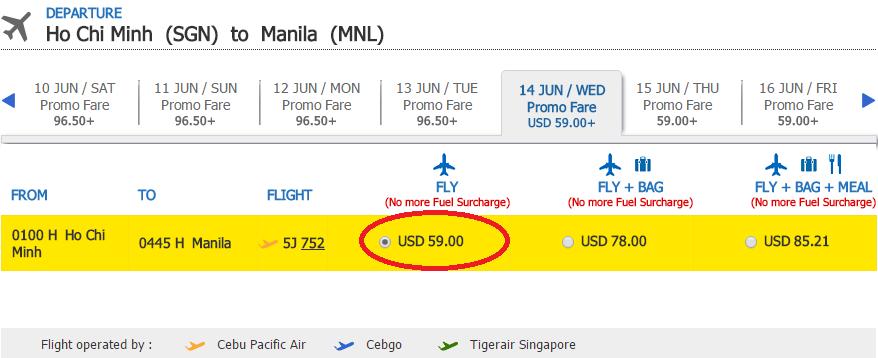 Bảng giá KM chặng HCM - Manila