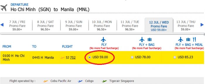 Giá KM tham khảo chặng HCM - Manila