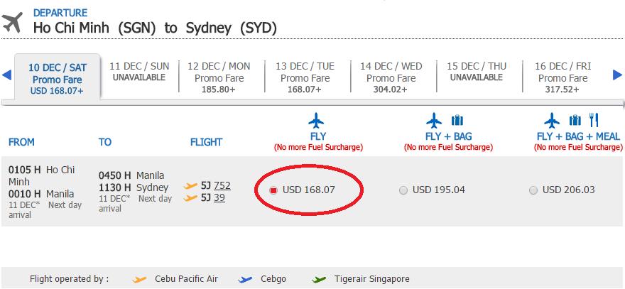Bảng giá KM chặng HCM - Sydney