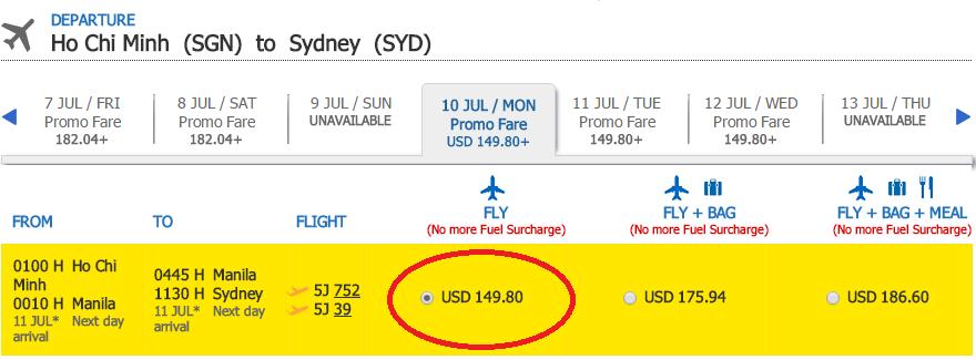 Giá vé KM chặng 1 chiều HCM đi Sydney