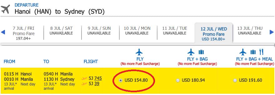 Giá vé KM hiển thị chặng 1 chiều Hà Nội - Sydney