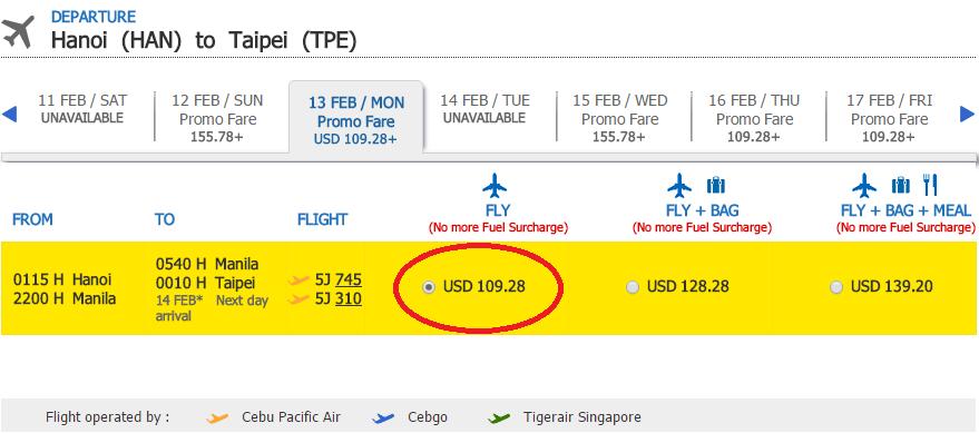 Giá vé tham khảo chặng Hà Nội - Đài Bắc