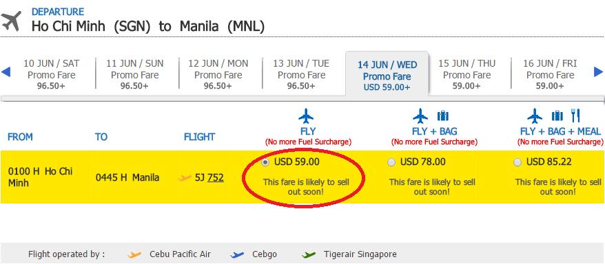 Giá tham khảo chặng Hồ Chí Minh - Manila