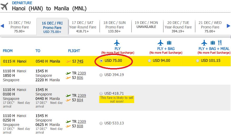 Giá KM tham khảo chặng Hà Nội - Manila
