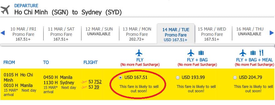 Giá tham khảo chặng Hồ Chí Minh - Sydney