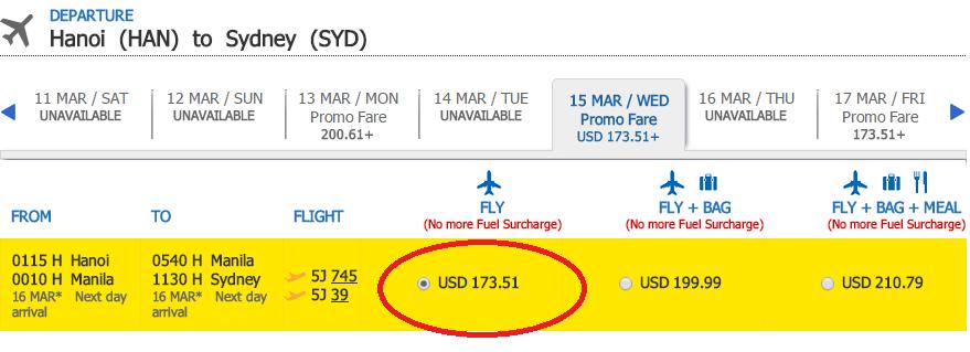 Bảng giá chặng Hà Nội - Sydney