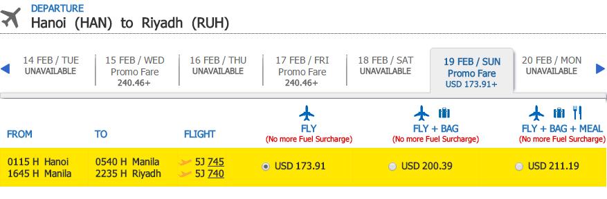 Bảng giá chặng Hà Nội - Riyadh