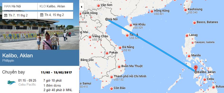 Bản đồ đường bay chặng Hà Nội - Boracay Kalibo