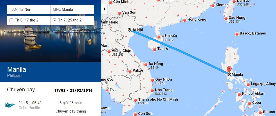 Bản đồ đường bay từ Hà Nội đi Manila
