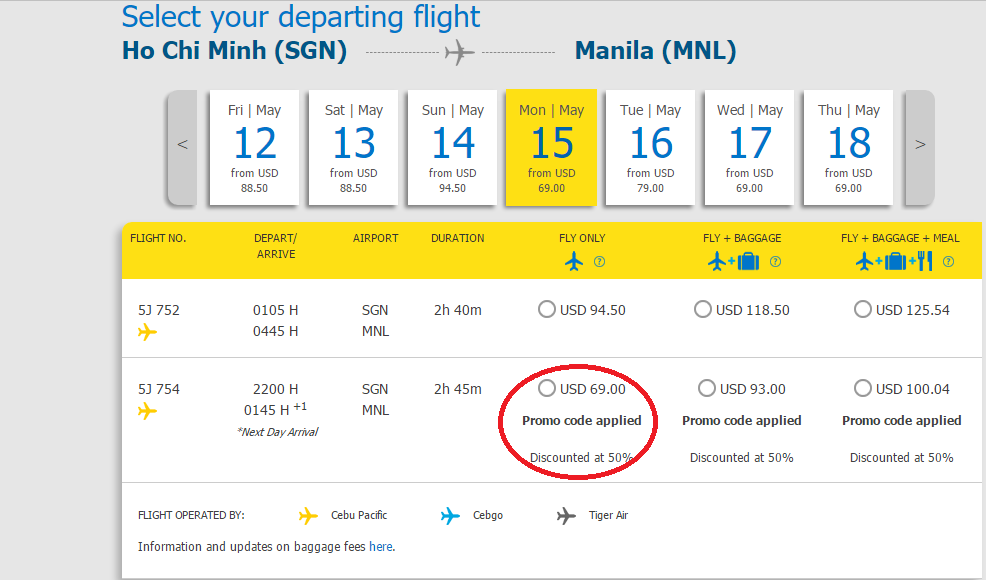 Mẫu giá vé KM giảm 50% đi Philippines