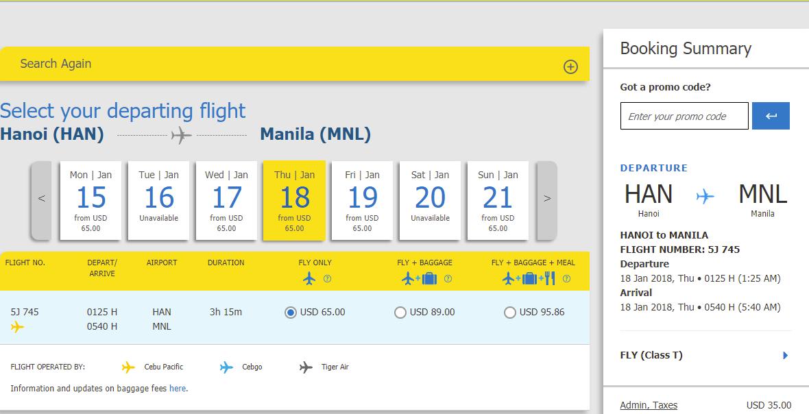mẫu giá vé Hà nội đi Philippines