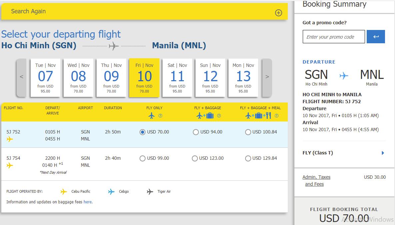 bảng giá vé Cebu chỉ từ 70 USD tham khảo