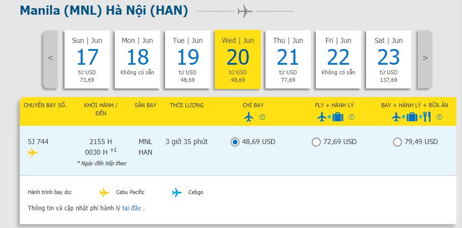 Hành trình Manila đến Hà Nội chỉ từ 48. 69 USD