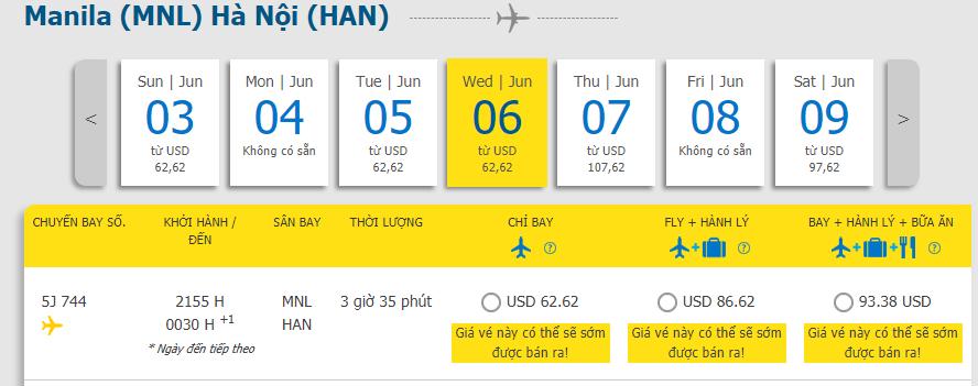 Hành trình Manila - Hà Nội chỉ từ 62,62 USD