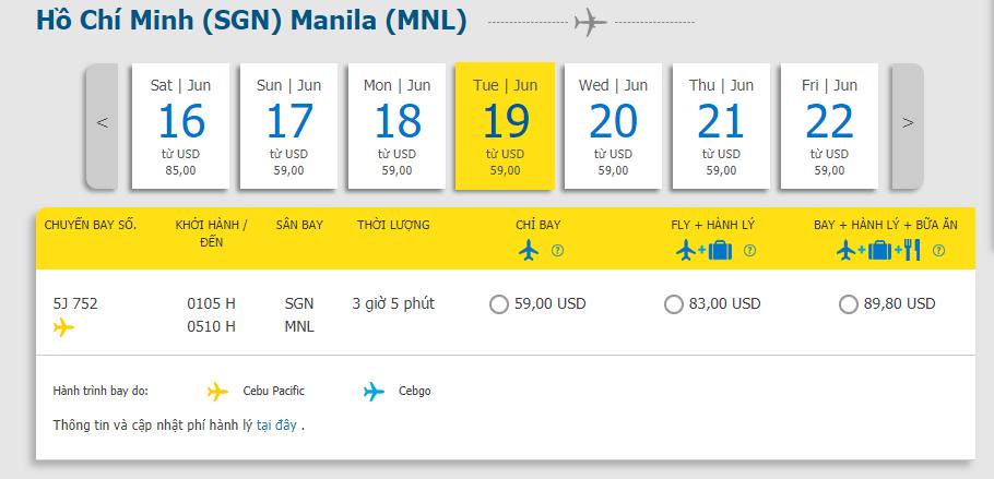 Hành trình Hồ Chí Minh đi Manila từ 59 USD
