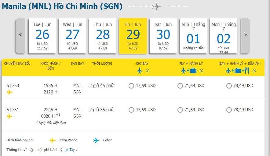 Hành trình Manila đi Hồ Chí Minh chỉ từ 47. 69 USD