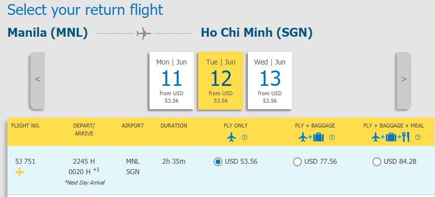 Hành trình Manila - Hồ Chí Minh chỉ từ 53, 56 USD
