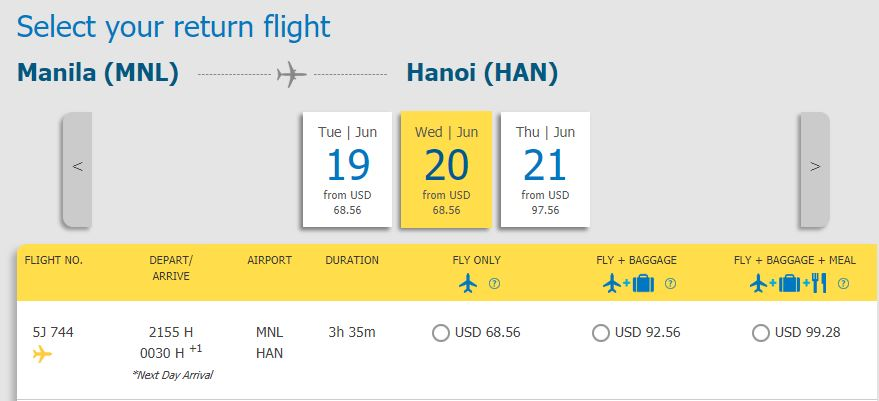 Hành trình từ Manila - Hà Nội chỉ từ 68,56 USD